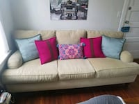 white fabric 3-seat sofa Chicago
