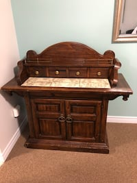 Brown wooden 2-drawer nightstand Antique forniture/buffet and desk solid wood very nice, we are moving and need it gone from a  smoke and pet free home. This. I s to be  picked up Burlington, L7N 3V4