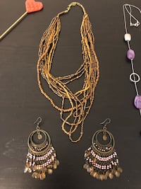 Necklaces and Earrings Set /brown & Purple  Vaughan, L6A 0V4