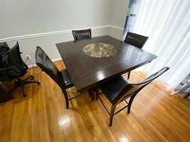 Leather sit dining table.