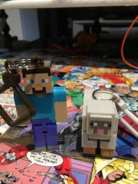 two minecraft character keychains