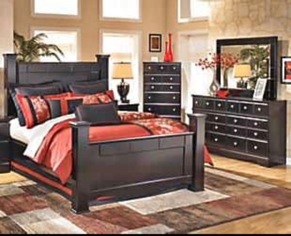 5-Piece Ashley Poster Bedroom Set With Brand New Orthopedic Mattress Set.  Only $39 Down!