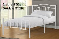 Brand new white metal platform bed frame in single and double warehouse sale  多伦多