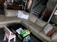 brown leather sectional sofa with ottoman 595 mi