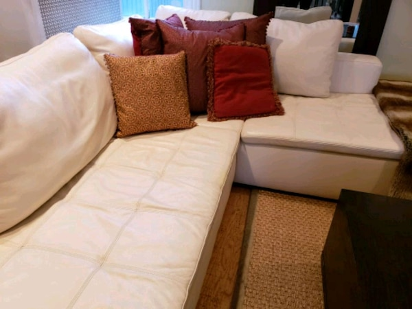 white and brown fabric sectional sofa