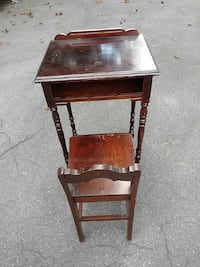 Telephone table and chair/antique