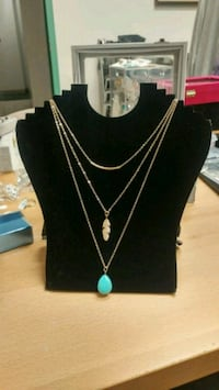 New 3 tier golden turquoise necklace  Montreal, H8T