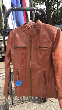 brown leather zip-up jacket Patchogue, 11772