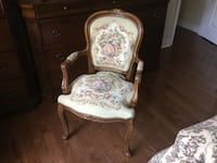 Brown wooden framed floral padded armchair Bradford West Gwillimbury, L3Z