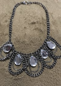 Silver-colored bib necklace with clear gemstones Bristol, 02809