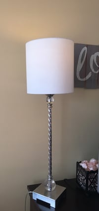 white shade gray base table lamp