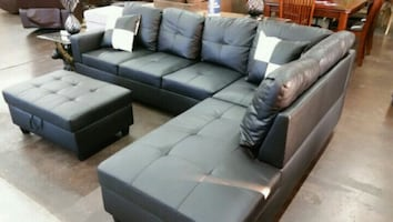 Black leatherette Sectional with ottoman