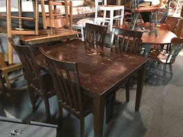 Modern Style Dining Table and Four High Back Slatted Chairs