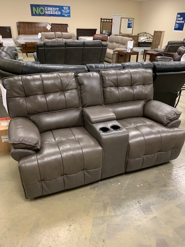 Sensational Gray Real Leather Electric Power Recliner Loveseat With Console With Usb Port Brand New Gmtry Best Dining Table And Chair Ideas Images Gmtryco