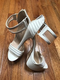 Pair of white leather open toe ankle strap heels Jessup, 20794