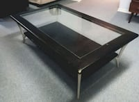 Coffee Table - Chesnut Coloured Wood and Glass  Edmonton, T6L