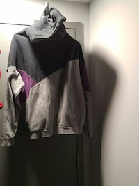 grey and black hooded sweater