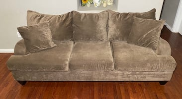 Light Gray Brown Polyester 3-Seat Couch w/ All Reversible Cushions