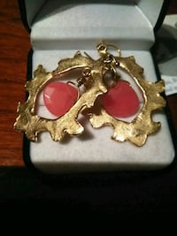 gold-colored and red hook earrings St. Louis, 63111