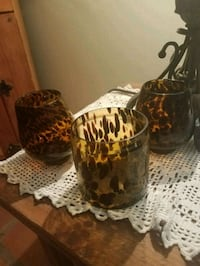 set of 3 amber spotted glass bottles Queen Creek