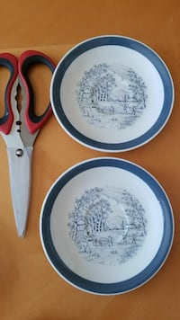 two white-and-blue toil ceramic decorative plates with red handled scissors Ansonia, 06401