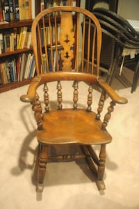 brown wooden windsor rocking armchair CHEVYCHASE