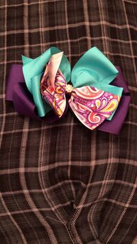 purple and teal bow Spring, 77386
