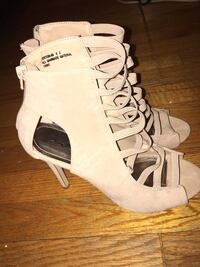 Pair of white leather open-toe gladiator sandals Arlington, 22206