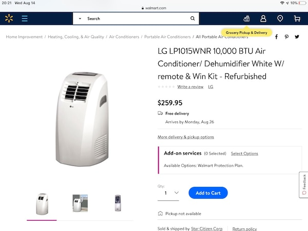 LG portable air conditioner used