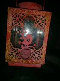 Red metal tealight candle lantern Overland, 63114