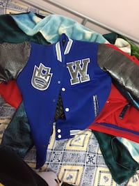 blue and gray letterman jacket