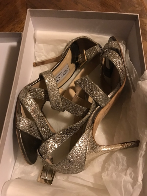 91e6580d912 Used Pair of glitter leather open-toe heels for sale in New York - letgo