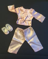 American Girl Doll Satin Pajamas With Slippers