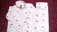 white and red floral print button-up shirt Thane, 400612
