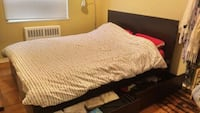 Ikea Dark Wood Bed Frame with 4 drawers Toronto, M4N 1X2