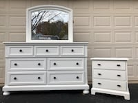 White 8 Drawer Long Dresser With Mirror and Nightstand 48 km