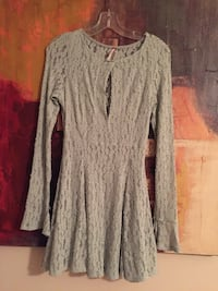 gray lace floral long-sleeved mini dress
