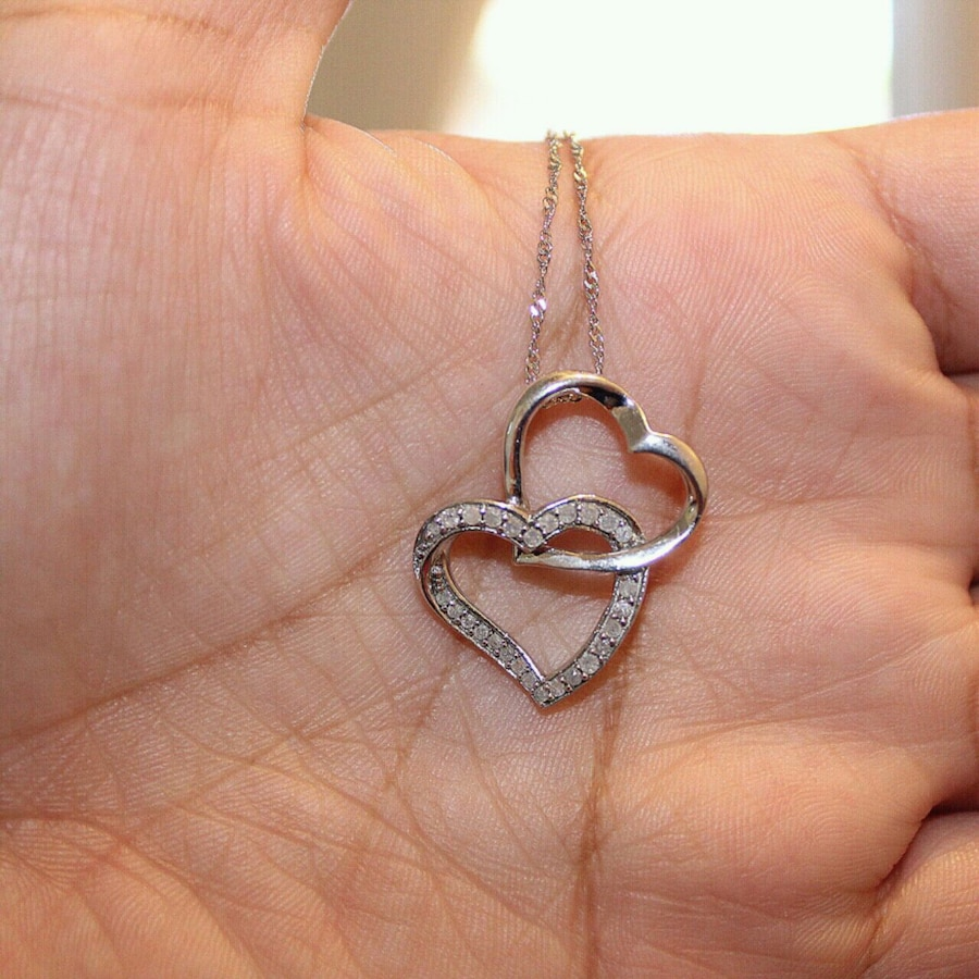 "Brand New Sterling Silver Genuine Diamond Love Heart 16/"" Necklace"