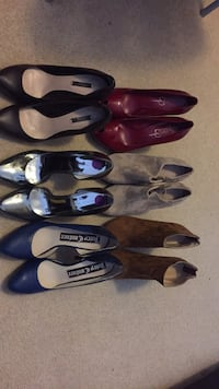 Assorted color leather pointed toe heels