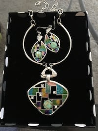 silver-colored and green gemstone necklace and pair of earrings se Falls Church, 22042