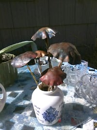 Hand Crafted Brass and Copper Toadstools for Garde Sacramento, 95838