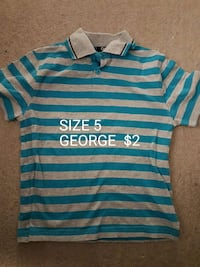size 5 blue and grey striped George polo shirt Woodstock, N4S 4R6