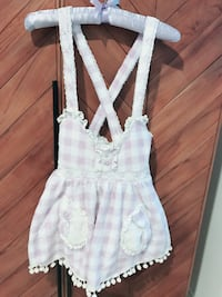Lavender gingham fluffy overall skirt, jumper skirt, lolita dolly j fashion, pom pom hem Los Angeles, 90068