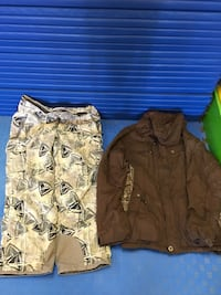 Brown and gray camouflage zip-up jacket / with pants $55.00