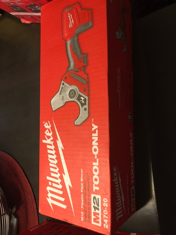 I have a brand new Milwaukee M12 plastic pipe shear tool only  82b47a67-d9b7-4bf7-b162-6d731519221d