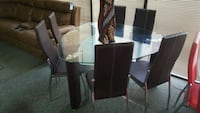rectangular glass top table with four chairs dining set Snellville, 30078