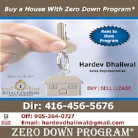 Buy a Home with Zero Down or Rent to own.  Mississauga