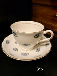 white and blue floral ceramic teacup with saucer 3743 km
