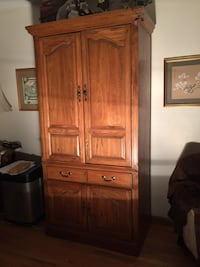 "Solid oak armoire cabinet with drawer  MUST SELL!   79"" tall x 38"" wide x 20"" deep Huntington, 11746"