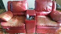 red leather 2-seat with console recliner sofa Frisco, 75034